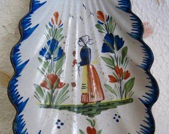 Quimper Fan-Shaped Bowl, HB Henriot, Vintage, As Is
