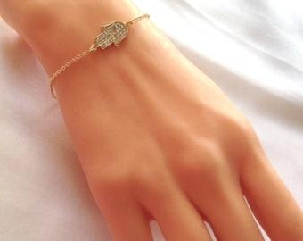 Gold Plated Hamsa Hand Bracelet, Gold Rhinestone Khamsa, Hamsa, Fatma's Hand ,Gold Jewelry,Little Girl Jewelery, Kaballah,Boho Jewelry