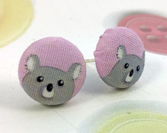 Koala Pink Button Earrings Studs Post Earring Bear Cartoon Printed Fabric Covered Buttons Illustration Jewellery Jewelry