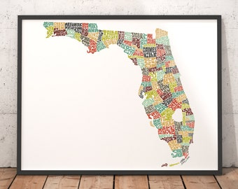 Florida map art, Florida art print, Florida typography map, map of Florida, Florida cities city map, state of Florida map