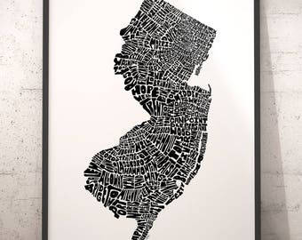 New Jersey typography map, New Jersey art print, map of New Jersey, New Jersey cities city map, New Jersey map art, state of New Jersey