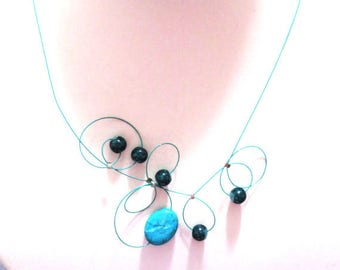 Twisted turquoise necklace - necklace and earrings - Christmas necklace - Christmas gift