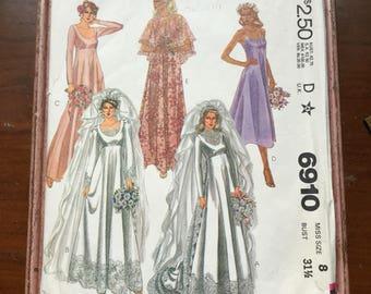 2 McCalls 6910 Vintage wedding dress patterns size 8 and 12