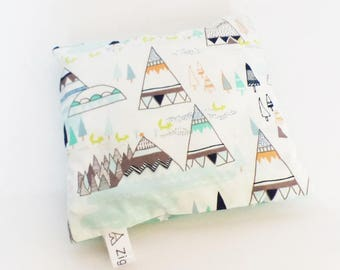 Heating baby / child in cherry pits, TEEPEE cover and IGLOO and green stars - removable