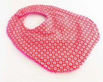 Baby 0-6 month fabric bib FLUO pink and fuchsia girl Terry