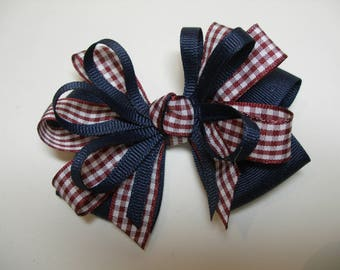 Navy Blue School Uniform Burgundy Maroon Gingham Check Hair Bow Boutique