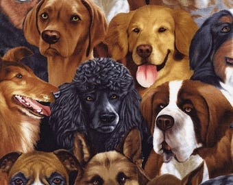 Dog Fabric/Labrador, Poodle, Collie/Timeless Treasures/Cotton Material/Quilting, Clothing, Craft/Fat Quarter, Half, or  By the Yard, Yardage