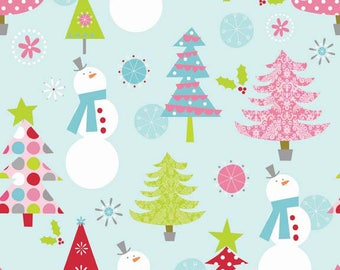Christmas Fabric/Trees and Snowmen, Blue, Pink, Green/Cotton Sewing Material/Quilting, Craft/Fat Quarter, Half, or By The Yard, Yardage