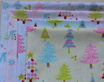 Christmas Fabric Bundle / 4 Fat Quarters/Christmas Trees/ Polka Dot/Quilting and Crafts/Aqua and Red Fabric/Cotton Holiday Sewing Material/
