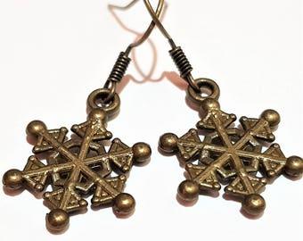 Bronze snowflake charm casual earrings