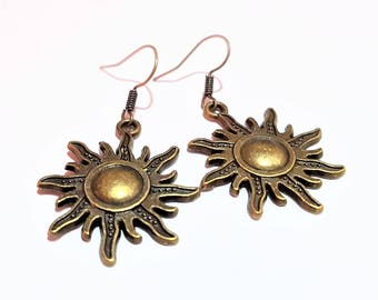 Sun charm bronze casual summer earrings chic jewelry