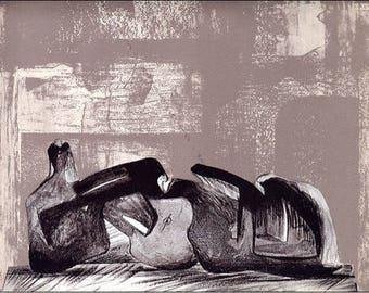 Les Metamorphoses de L'abstrait, Lithograph by Henri Moore 1977