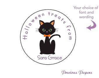 Halloween black cat treat bag sticker - black cat stickers