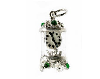 Sterling Silver Jewelled Green Carriage Clock Charm For Bracelets