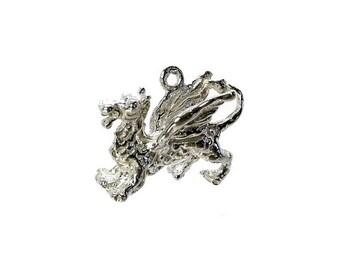 Sterling Silver Welsh Dragon Charm For Bracelets