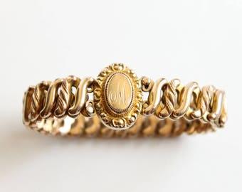 "Antique Sweetheart Expansion Bracelet, D.F.B Company Designer, ""M"" engraved, Circa 1920's"