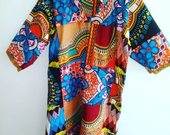 Shirtdress - Dashiki Patchwork Print