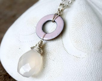 Light Pink Enamel and Chalcedony Pendant - Enamel Jewelry, Chalcedony Jewelry, Enamel Necklace, Chalcedony Necklace