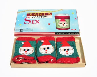 Vintage Christmas Season Santa Claus Coasters Glass or Bottle Drink Covers Set of 6 Features Santa Faces Original Box Holiday Party Decor