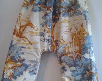 French toile de Jouy cheavaux cotton harem pants / blue fabric 12/24 months