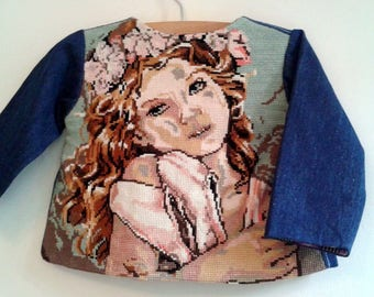 "jacket wrap-over denim with back canvas ""tiny dancer"" 12/24 months"