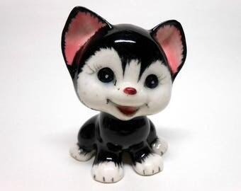 Black & White Kitten Figurine Made in Japan Vintage Adorable!