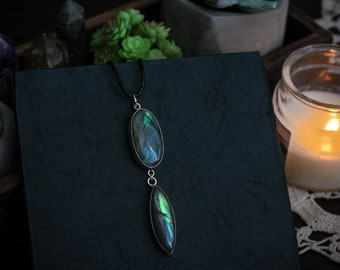 Hypnos • Two polished & flashy labradorite stones in sterling silver settings necklace