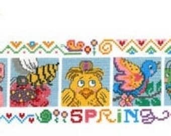 PRESIDENTS DAY SALE Imaginating Spring Friends Cross Stitch Pattern