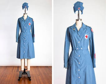 RARE Vintage 1942 WWII Red Cross Volunteer Staff Assistance Corps Washable Indoor Uniform with Original Hat // Doughnut Dollies // ARC