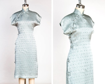 STUNNING Vintage 1950s Silver Star Patterned Japanese Cheongsam // Qipao Dress // Exotic // Hostess // Chinoiserie // Matoi