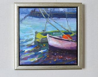 Rowboats in harbor impressionist seascape oil painting / original east coast landscape/ New England /small oil on canvas/ pink, green/square