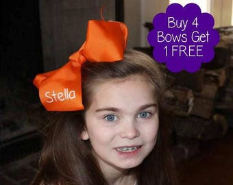 Buy More-Save More-HUGE 7X8 hairbow monogrammed in your favorite color w/ name/initials is fun! Ships in 3 days! Sets can mix colors & fonts