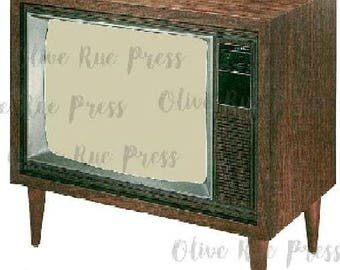 Vintage Television Image for Scrapbooking and Crafting (Digital Download)