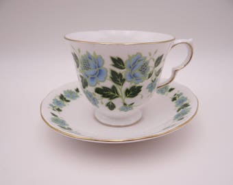 Mid Century Royal Vale English Bone China English Blue Rose Teacup and Saucer set English Tea Cup