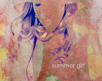 Summer Girl Original Watercolor Art Painting Digital Media Limited Edtion PRINT - Signed, Numbered Various Sizes Wall Hanging