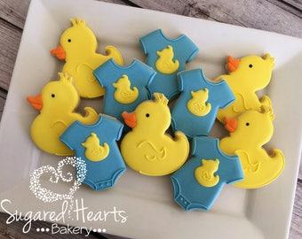 Rubber Ducky and Onesie Baby Shower Cookies - 1 Dozen
