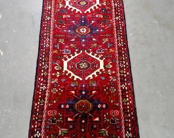 Persian Rug - 1980s Hand-Knotted Karaja Persian Rug Runner (3705)
