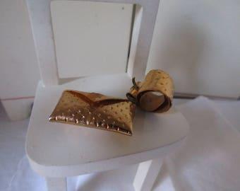 Gold Fashion Doll Clutch Purse and Matching Belt w Buckle Vintage Barbie Skipper Dawn