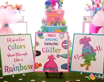 Trolls Inspired Party Signs