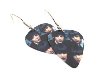 Beatles Guitar Pick Earrings with Stainless Steel Earwires
