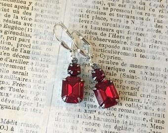 Dainty Vintage Rhinestone Earrings | Red and Crimson