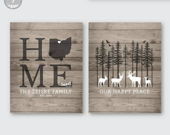 Rustic Family Home State Personalized Art Prints, Our Happy Place, Home Sweet Home, Deer, Set of (2) 5x7, 8x10 or 11x14 Faux Wood UNFRAMED
