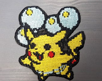 8 Bit Flying Pikachu Pokemon Inspired Patch | Hand Made Patch | Pokemon Patch
