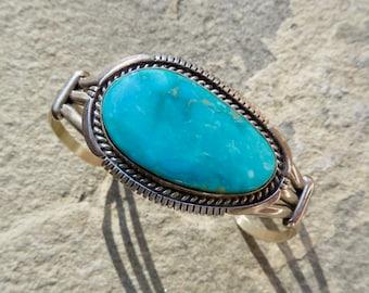 Turquoise Bracelet,Native American Turquoise Jewelry,Signed Navajo Turquoise Cuff,Navajo Turquoise,Navajo Jewelry,Turquoise Silver Bracelet