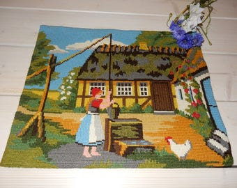 Swedish hand embroidered wall hanging 1970 s /  a house / a girl / a chicken