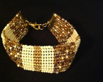 Cancun Sands and Gold Band Herringbone Cuff