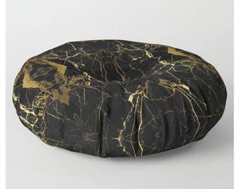 Round Floor Pillow Marble Floor Pillow Black Marble Floor Pillow Stone Pattern Floor Cushion Floor Pillow Pouf Cover Pouf Poufs for Sitting