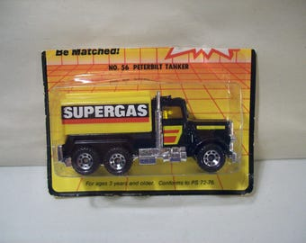 Vintage Matchbox Peterbilt Super Gas Die-Cast Tanker Truck 1983, On Card Bottom, Sealed