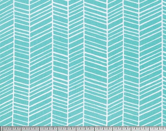 Herringbone in Aqua - Modern Meadow by Joel Dewberry