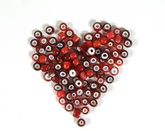 Vintage Venetian Size 6/0 Deep & Light Cherry Red White Heart Seed Beads 5 grams